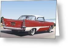 1957 De Soto Car Nostalgic Rustic Americana Antique Car Painting Red  Greeting Card