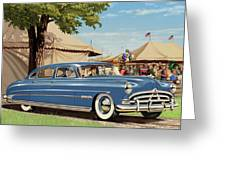 1951 Hudson Hornet Fair Americana Antique Car Auto Nostalgic Rural Country Scene Landscape Painting Greeting Card