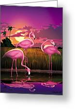 Flamingoes Flamingos Tropical Sunset Landscape Florida Everglades Large Hot Pink Purple Print Greeting Card