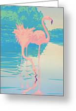 abstract Pink Flamingos retro pop art nouveau tropical bird 80s 1980s florida painting print Greeting Card