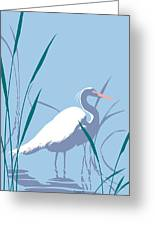 abstract Egret graphic pop art nouveau 1980s stylized retro tropical florida bird print blue gray  Greeting Card
