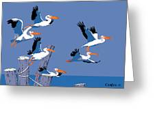 abstract Pelicans seascape tropical pop art nouveau 1980s florida birds large retro painting  Greeting Card