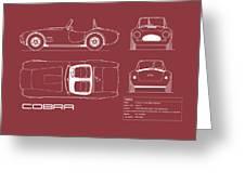Ac Cobra Blueprint - Red Greeting Card