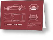 Aston Martin V8 Vantage Blueprint - Red Greeting Card
