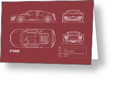 Audi R8 Blueprint - Red Greeting Card