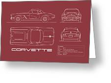 Corvette C1 Blueprint - Red Greeting Card
