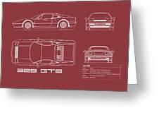 Ferrari 328 Gtb Blueprint - Red Greeting Card