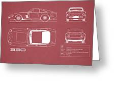 Ferrari 330 Blueprint - Red Greeting Card