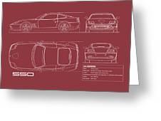 Ferrari 550 Blueprint - Red Greeting Card