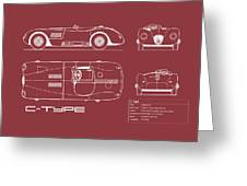 Jaguar C-type Blueprint - Red Greeting Card