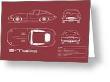 Jaguar E Type Blueprint - Red Greeting Card