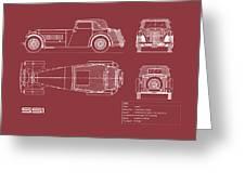 Jaguar Ss1 Blueprint Greeting Card