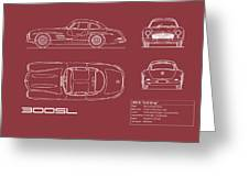 Mercedes 300 Sl Blueprint - Red Greeting Card