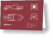 Mercedes Ssk Blueprint - Red Greeting Card