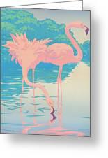 Square Format - Pink Flamingos Retro Pop Art Nouveau Tropical Bird 80s 1980s Florida Painting Print Greeting Card