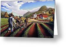 Appalachian Folk Art Summer Farmer Cultivating Peas Farm Farming Landscape Appalachia Americana Greeting Card