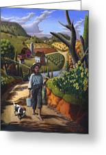 Boy And Dog Farm Landscape - Flashback - Childhood Memories - Americana - Painting - Walt Curlee Greeting Card