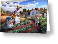 Family Vegetable Garden Farm Landscape - Gardening - Childhood Memories - Flashback - Homestead Greeting Card by Walt Curlee