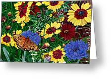 Butterfly Wildflowers Garden Oil Painting Floral Green Blue Orange-2 Greeting Card