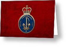 Royal Australian Navy -  R A N  Badge Over Red Velvet Greeting Card