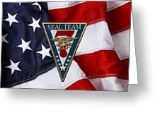 U. S. Navy S E A Ls - S E A L Team Seven  -  S T 7  Patch Over U. S. Flag Greeting Card