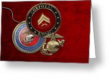U. S.  Marines Corporal Rank Insignia Over Red Velvet Greeting Card