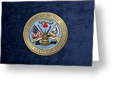 U. S. Army Seal Over Blue Velvet Greeting Card