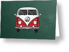 Volkswagen Type 2 - Red And White Volkswagen T 1 Samba Bus Over Green Canvas  Greeting Card by Serge Averbukh