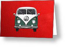 Volkswagen Type 2 - Green And White Volkswagen T 1 Samba Bus Over Red Canvas  Greeting Card by Serge Averbukh