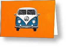 Volkswagen Type 2 - Blue And White Volkswagen T 1 Samba Bus Over Orange Canvas  Greeting Card by Serge Averbukh