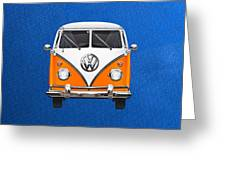 Volkswagen Type - Orange And White Volkswagen T 1 Samba Bus Over Blue Canvas Greeting Card by Serge Averbukh