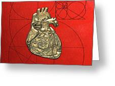 Heart Of Gold - Golden Human Heart On Red Canvas Greeting Card by Serge Averbukh