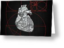 Silver Human Heart On Black Canvas Greeting Card
