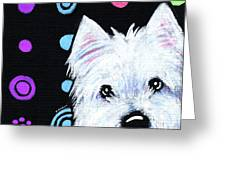 Kiniart Disco Westie Greeting Card