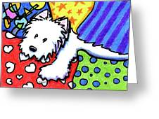 Pillow Pile Westie Greeting Card
