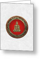 Treasure Trove - Gold Buddha On White Leather Greeting Card