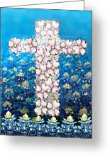 Cross Of Flowers Greeting Card