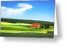 Red House In Field - Amshausen, Germany Greeting Card