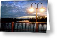 Boat Lights Sunset On Lady Bird Lake Greeting Card