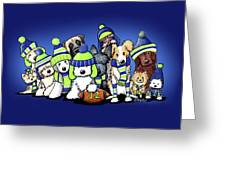 12 Dogs On Blue Greeting Card