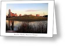 Birds And Fun At Butler Park Austin - Silhouettes 1 Poster And Greeting Card Greeting Card