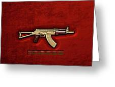 Gold A K S-74 U Assault Rifle With 5.45x39 Rounds Over Red Velvet   Greeting Card