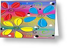 Bright Flowers Intertwined Greeting Card