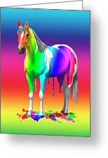 Colorful Rainbow Paint Horse Greeting Card