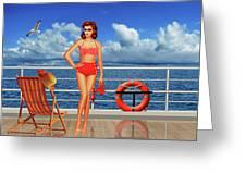 Beauty From The 50s In Bikini  Greeting Card