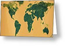 Big Abstract World Map  Greeting Card