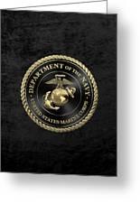U S M C Emblem Black Edition Over Black Velvet Greeting Card