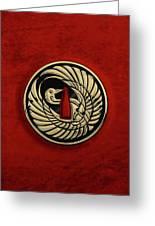 Japanese Katana Tsuba - Golden Crane On Black Steel Over Red Velvet Greeting Card
