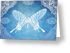 Bohemian Ornamental Butterfly Deep Blue Ombre Illustratration Greeting Card