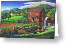Old Red Appalachian Grist Mill Rural Landscape - Square Format  Greeting Card